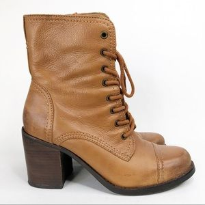 Steve Madden Whit Lace-Up Leather Heel Boots